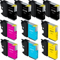 10 Pack - Compatible Brother LC61 Ink Cartridges, 4 Black, 2 Cyan, 2 Magenta and 2 Yellow Ink Cartridges