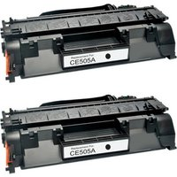 2 Pack - Compatible Replacement For HP 05A Toner Cartridge, Black (CE505A)