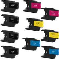 10 Pack - Compatible Brother LC75 Ink Cartridge Set, High Yield, Package Includes 4 Black, 2 Cyan, 2 Magenta and 2 Yellow Ink Cartridges