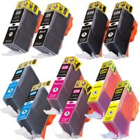 10 Pack - Compatible Canon PGi-225 and Cli-226 Ink Cartridge Set, Package Includes 2 PGi-225 Black, 2 Cli-226 Black, 2 Cyan, 2 Magenta, and 2 Yellow Ink Cartridge
