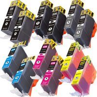 12 Pack - Compatible Canon PGi-225 and Cli-226 Ink Cartridge Set, Package Includes 2 PGi-225 Black, 2 Cli-226 Black, 2 Cyan, 2 Magenta, 2 Yellow and 2 Gray Ink Cartridges