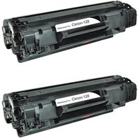 2 Pack - Compatible Canon 128 Toner Cartridge, Black (3500B001AA)
