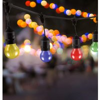 Premium 5m Connectible Outdoor Festoon Light E27 with 10x LED Golfball Light Bulbs Multi-Coloured