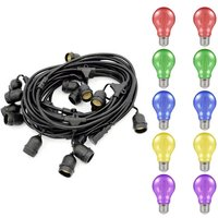 Premium 5m Connectible Outdoor Festoon Light E27 with 10x LED GLS Light Bulbs Multi-Coloured