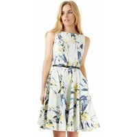 Yellow Floral Flared Belted Dress