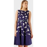 Navy Big Polka Belted Skater Dress