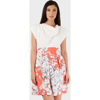 Coral Cowl Neck Floral Pleated Dress