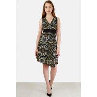Black Floral Batik V Neck Dress