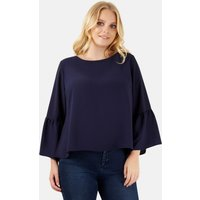 Navy Bell Sleeve Blouse