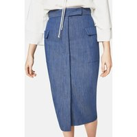 Denim Midi Pencil Skirt With Patch Pockets