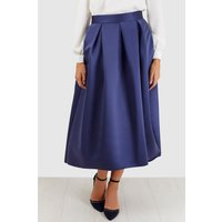 Navy Satin High-Low Skirt