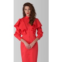 Coral Collared Cuff Sleeve Button Up Dress