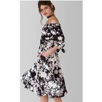 Closet  Black and White Print Bardot Bow Sleeve Dress