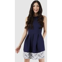 Navy Cream Pleated Waist Dress with Lace Hem