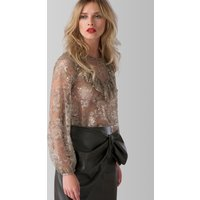 Beige Lace Long Sleeve High Collar Blouse