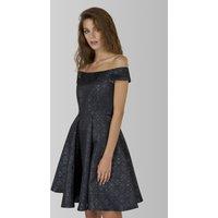 Closet London Green Off Shoulder Jacquard Dress