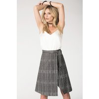Black and White Asymmetrical Wrap Tie Skirt