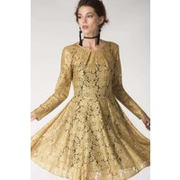 Gold Pleated Front Lace Skater Dress