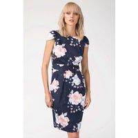 Navy Floral Tulip Tie Back Dress
