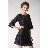 Black Metallic Lace Frill Hem Dress