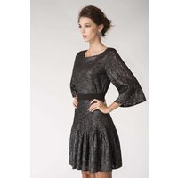 Grey Metallic Lace Frill Hem Dress