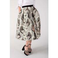 CLOSET Metallic Jacquard Pleated Midi Skirt
