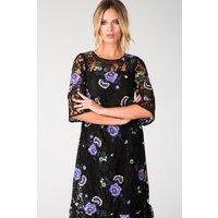 Black Lace Frill Hem Dress