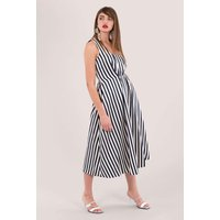 CLOSET GOLD Navy Stripe Pleated Sleeveless Dress