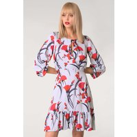 Blue Floral Gathered A-Line Dress