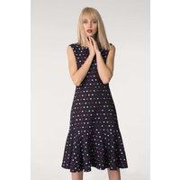 Navy Polka Dot Sleeveless Pephem Dress