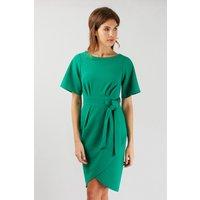 Green Tie Waist Kimono Wrap Dress