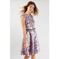 Lilac Belted Skater Dress