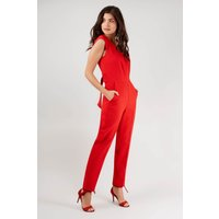 Red V-Neck Tie Waist Jumpsuit