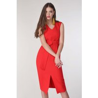 Red Sleeveless Pencil Dress