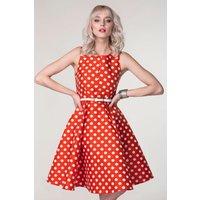 CLOSET GOLD Red Polka Dot Split Neck Panel Dress