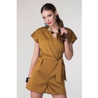 Camel Satin Wrap & Tie Kimono Playsuit