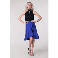 Blue Frill Hem Wrap Skirt
