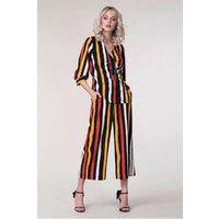 Black Stripes Crop Leg High-Waist Trousers