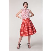 CLOSET GOLD Red Polka Dot Pleated Full Skirt