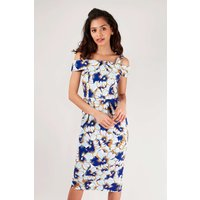 Blue Off Shoulder Pencil Dress