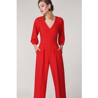 Red V-Neck Cropped Leg  Jumpsuit