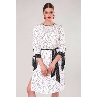 White Polka Dot Bow Cuffs Gathered Dress