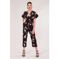 Black Floral Wrap Over Tie Front Jumpsuit