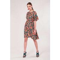 Peach Frill Sleeve A-Line Dress