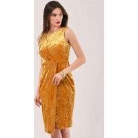 Velvet Gold Draped Sleeveless Wrap Dress