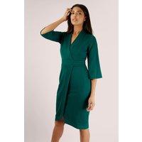 Green Wrap Pencil Dress