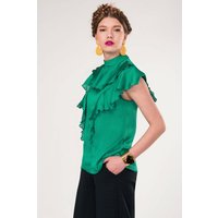 Green Frill Neck Blouse