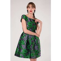 CLOSET GOLD Navy Floral Cap Sleeve Pleated Skirt Dress