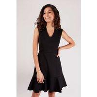 Black V-Neck Peplum Dress