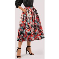 Closet GOLD Graphic Print Pleated Midi Skirt